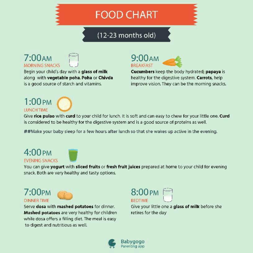 Kindly tel the healthy diet chart for 10 month old baby....