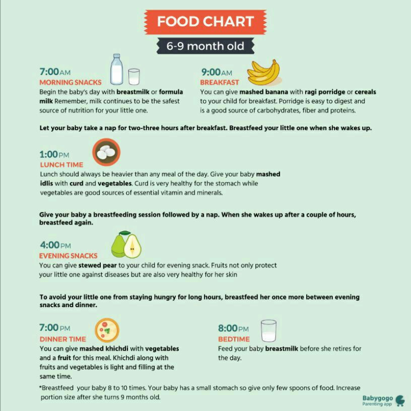 Food Chart For 6 Month Baby